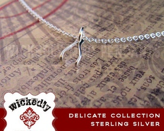 Sterling Silver Tiny Wishbone Necklace - Delicate Everyday Necklace - Simple Necklace - Minimal Jewelry - Charm Necklace