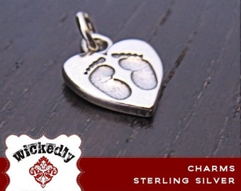 Add On - sterling silver baby feet heart charm - ONE CHARM with jump ring