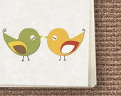 Love birds stationery set - Printable Stationery, downloadable Notecards, Letters, Envelopes, Tags/Stickers