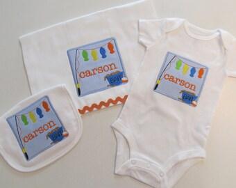 Baby Boys Fishing Patch  Applique with Monogram, Bib, Burp Cloth and Onesie Set