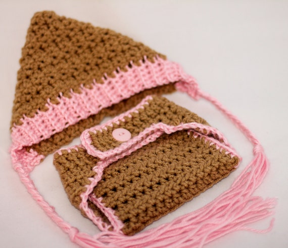 Newborn Crochet Hat and Diaper Cover Set