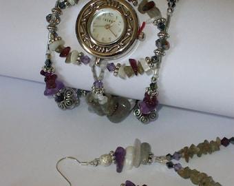 "Beaded Amethyst Watch & Earrings, Faceted Birthstone Watch, Unique Watch, Bridal Watch, ""Choose Your Size""  Amethyst Earrings, 4 1/2 inch"