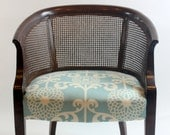 Vintage Cane Chair with New Blue Patterned Upolstery