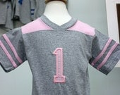 GreatStitch Girl PINK  Football Jersey Tshirt 1st or 2nd Birthday Toddler Custom Personalized