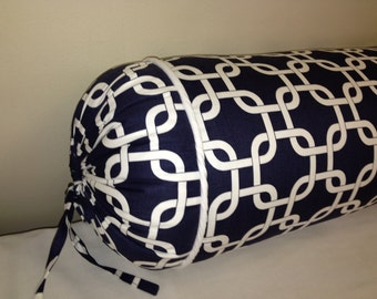 Bolster, neck roll pillow  gotcha chain link navy blue and white