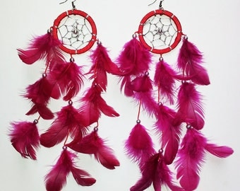 FESTIVAL cranberry red pink DREAMCATCHER earrings native american indian