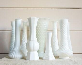 Vintage Milk Glass Vase Collection