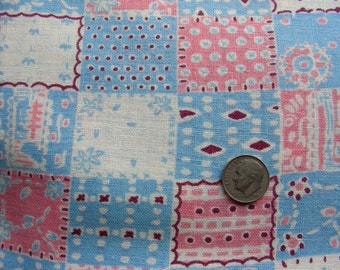 Vintage Feedsack NOVELTY Cotton Fabric - ADORABLE Little Girls or Boys Small Print for Nursery Quilt - 36 x 44