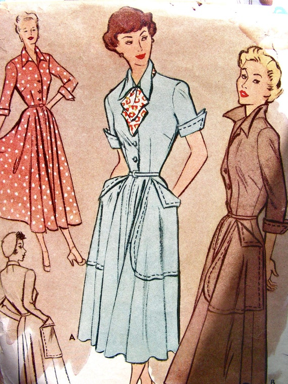 Vintage 40s McCall's 7735 - Button Front Shirtwaist Dress BIG Pockets Sewing Pattern -  Bust 38 - FF