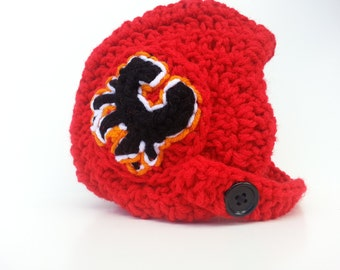 Baby Calgary Flames Helmet, NHL Flames baby Shower