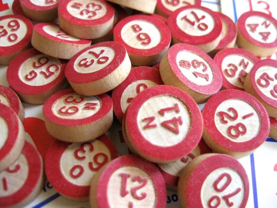48 vintage bingo pieces, wooden game pieces, wood bingo markers, bingo game, bingo numbers,