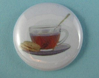 Tea time pinback button