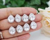 10% OFF SET of 3,4,5 Wedding Jewelry Bridesmaid Jewelry Bridesmaid Earrings Bridesmaid Gifts Cubic Zirconia Tear drops Ear Posts (E-BM-0006)