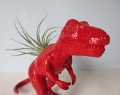Upcycled Dinosaur Planter - Extra Large Red T Rex with Air Plant