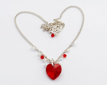 Red Hot Love Necklace With Swarovski Crystals And Silver Plated Chain