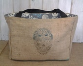 Eco-Friendly Day Of The Dead Design Market Tote Bag, Handmade from a Recycled Coffee Sack