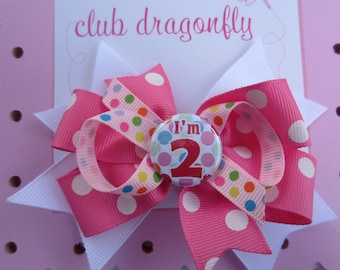 I'm 1, 2, 3, 4, 5 or Happy Birthday Layered Bow in Hot Pink