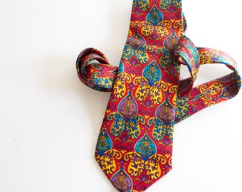 Vintage Men's Necktie - Colorful Gian Marco Venturi Silk tie - red yellow blue purple