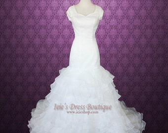 Modest short sleeves Fit and flare Organza Ruffles Wedding Dress