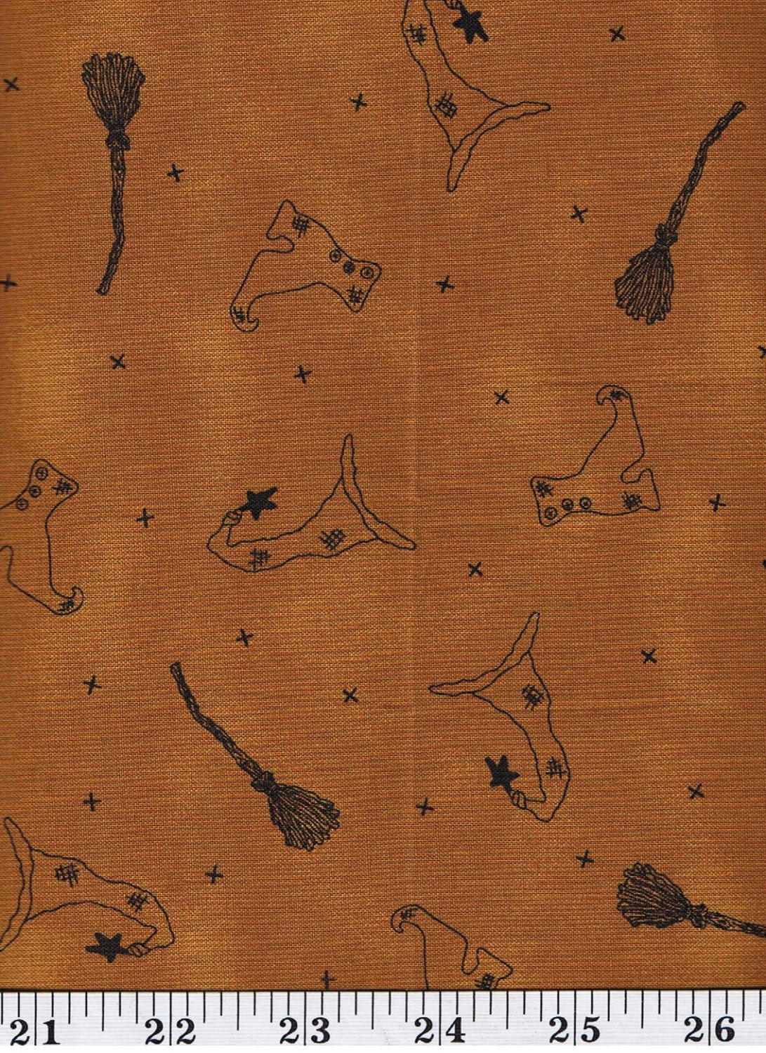 Honey And Me Tan Halloween Witches Fabric 1 2 Yd Cut Off The