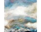 Turquoise Clouds Watercolor Print- Blue, White, Beige- Stormy Sky- Colorado Mountains- Inverted Landscape- Watercolour Print