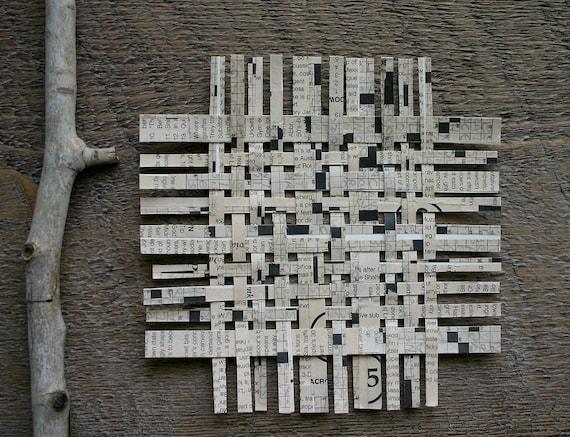 Crossword Paper Weaving- White and Black Mixed Media- Original Woven Art- 6x6