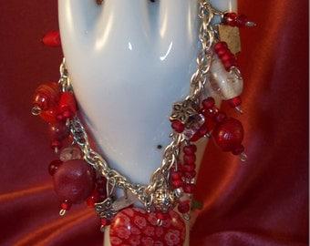 Red Delight Jingle Jangle Beaded Charm Bracelet