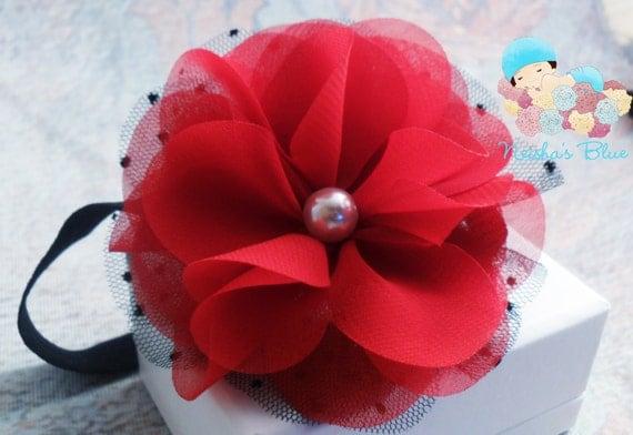 Red Black Valentines Newborn Baby Girl Flower Headbands, Photography Prop