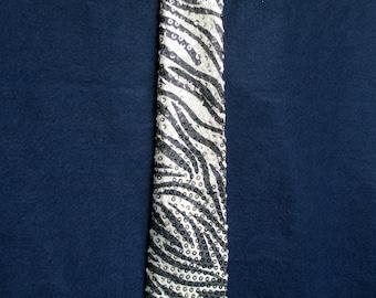Zebra Sequin Print Necktie in black and white