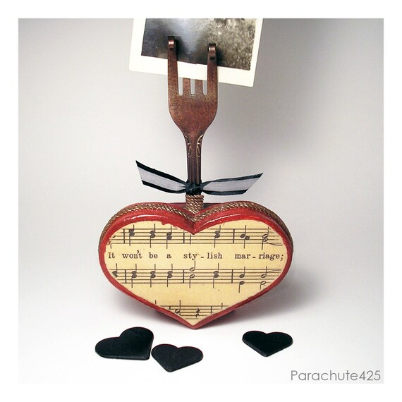 A STYLISH MARRIAGE, recycled fork photo holder, wooden heart, vintage sheet music, wedding, engagement, anniversary