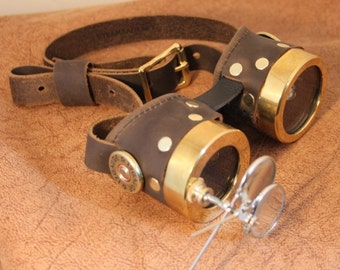 Steampunk magnifier goggles with machined round brass rims