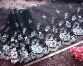 Black lace, Embroidered net fabric, Embroidered tulle lace, Lace trim, Lingerie fabric, 2 yards BK036