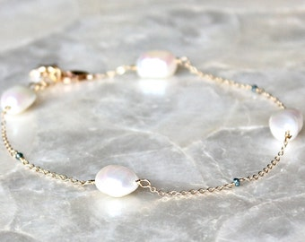 Anklet of Baroque Pearls, Faceted Blue Diamonds, 14kt Yellow, or Rose Gold Fill, or Sterling Silver - Eco Friendly, Ethical, Conflict Free