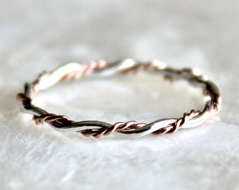 Double Intertwined Band in Sterling Silver, 14kt Gold Fill, or Solid 14k Gold Wedding, Promise, Toe Ring Eco Friendly Nickel Free Recycled