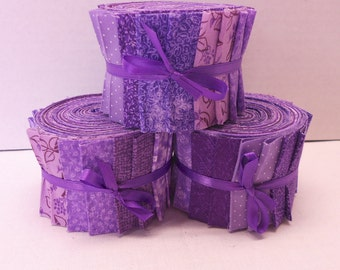 Purple Quilt Fabric Strips Jelly Roll - I Cut You Sew - by SEW FUN QUILTS Time Saver Quilt Kit