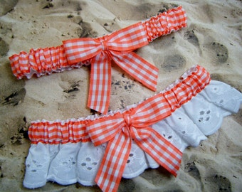 Orange Peach Gingham White Eyelet Lace Wedding Garter Toss Set