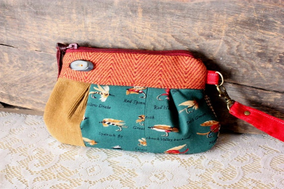 Cotton/ Wool small Wristlet/ pleated pouch/ clutch in Fly Fishing Lures print---Ready to Ship--