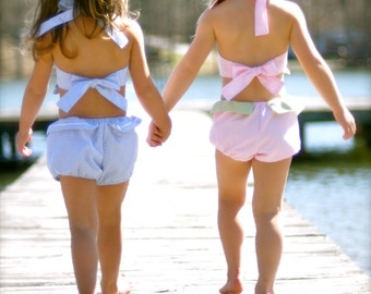 Seersucker swimsuit, sizes 6mos.-6 girls (8 colors to choose from)
