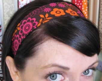 Brown Stay In Place Headband w/ Orange and Fuschia Pink Retro Flowers