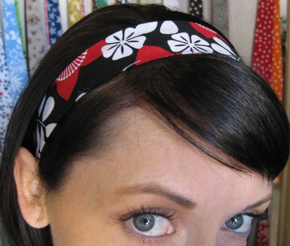 Red, White, and Black Stay Put Headband w/ Star Flowers