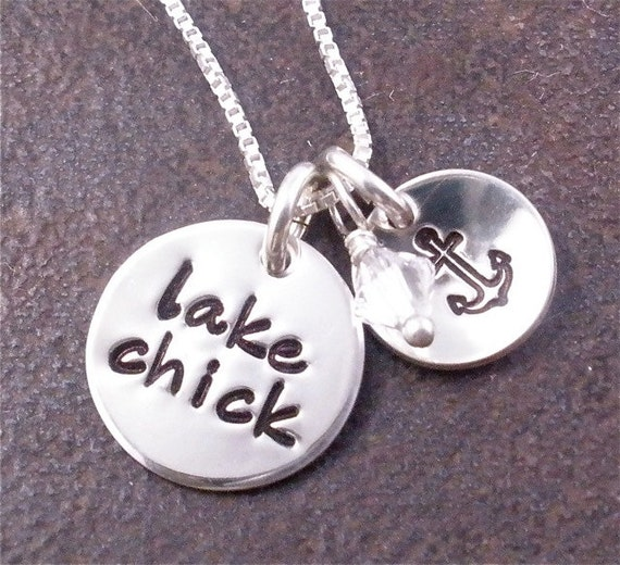 Lake Chick Necklace - Hand Stamped Sterling Silver with Anchor