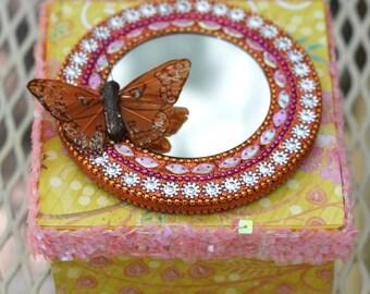 Decorated Paper Mache Box Sunny Garden Gift Box