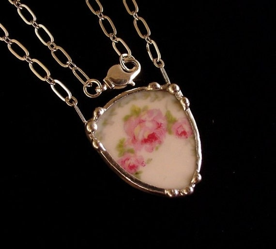 Antique pink rose French porcelain shield shaped broken plate broken china jewelry necklace