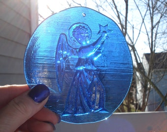 Vintage Cobalt Blue Glass Angel Suncatcher Stained Glass Window Decoration