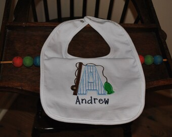 Baby SHOWER GIFT BIB Appliqued and Monogrammed Fish Alphabet Baby Bib Personalized Item