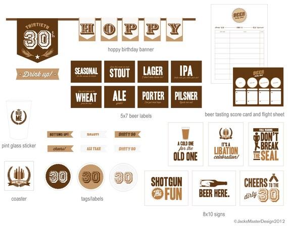 30th Birthday Beer Tasting Printable