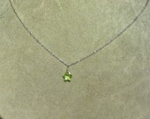 "Peridot ""She's a Star"" Faceted Gemstone Pendant -- sterling silver"