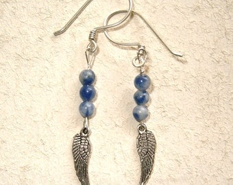 Silver Wings and Sodalite Bead Earrings