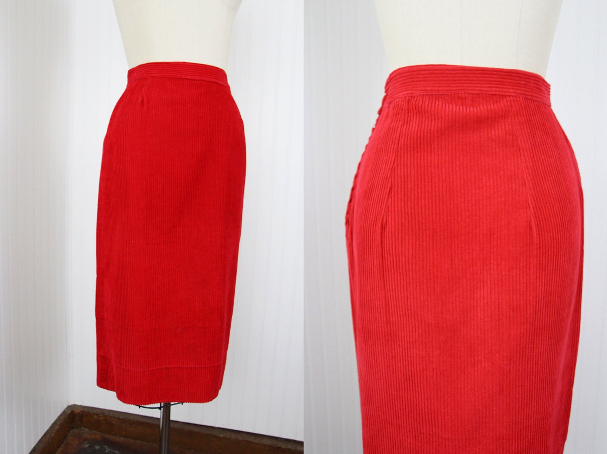 1950s skirt vintage 50s pencil skirt corduroy by