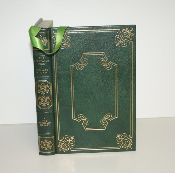 Hollow Book Safe Leather Bound The Spectator Bird real 22k gold genuine green leather